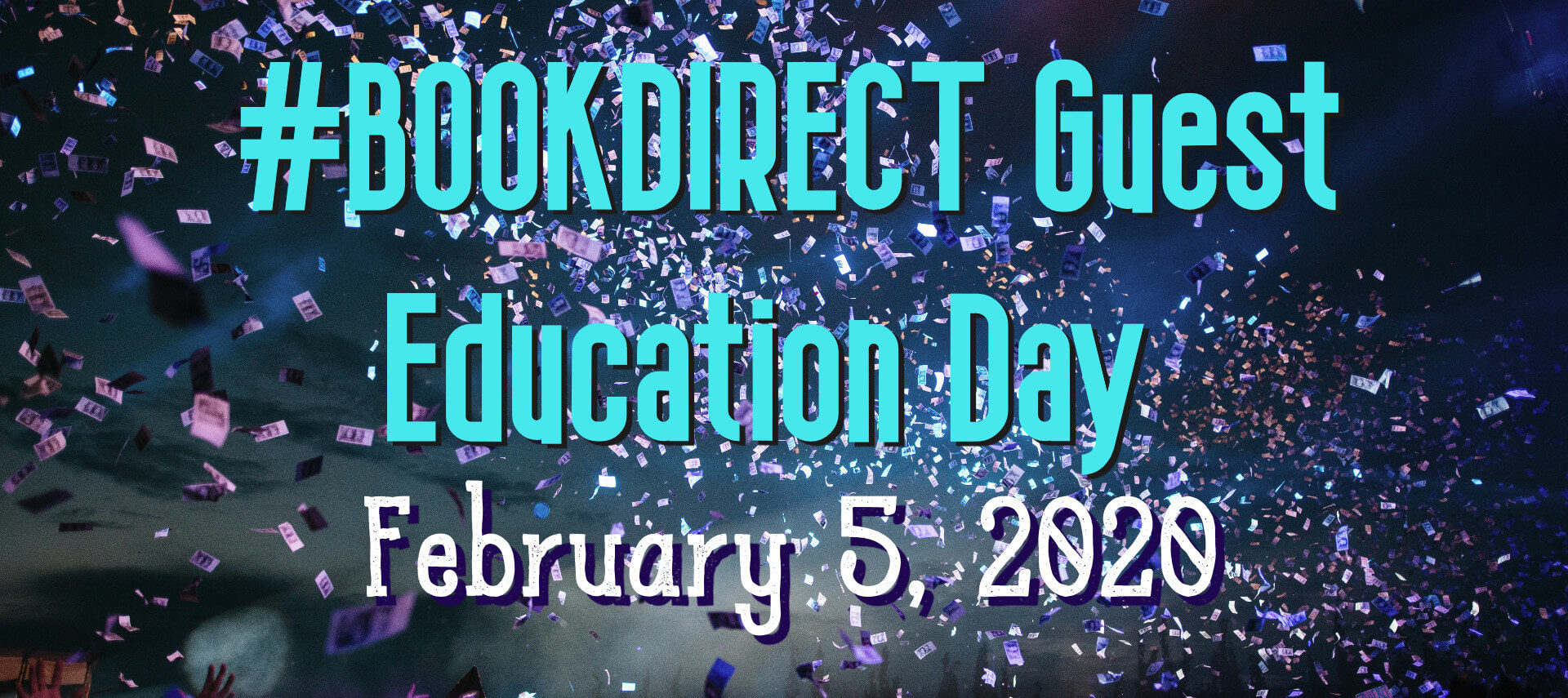 Book Direct Day - February 5, 2020 on background of purple confetti