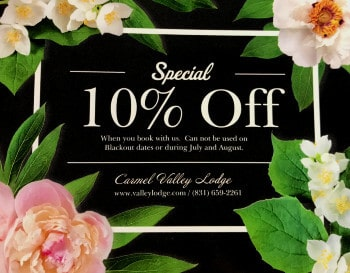 Pretty flowered card promoting a 10% discount for booking direct