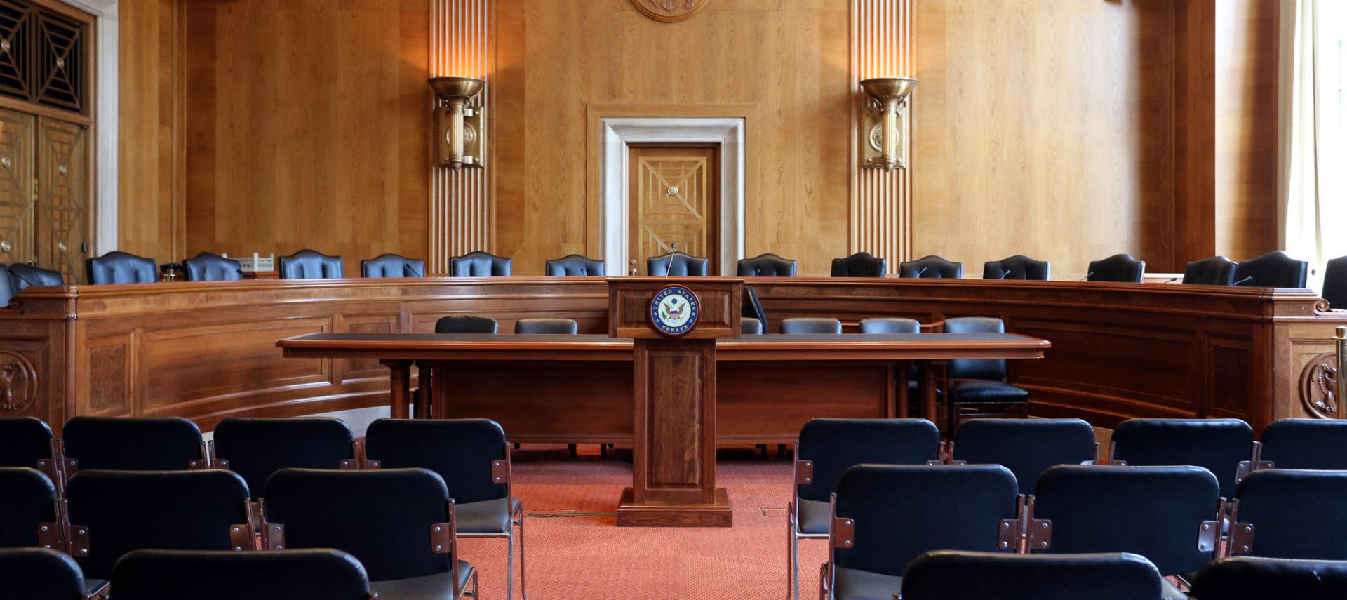 US Senate Hearing Room chairs and podium