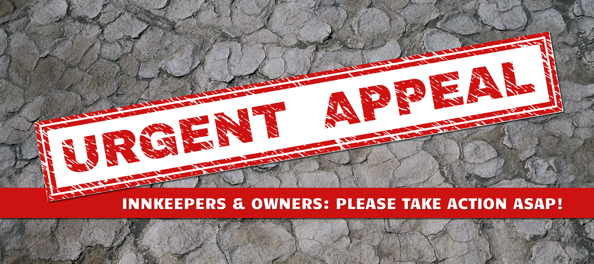 Red Stamp Urgent Appeal on Broken Ground